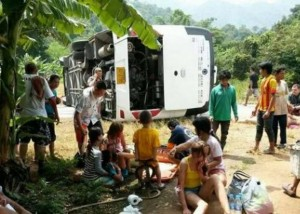 The Russian tourists were on their way to the River Kwai when their bus tipped over.