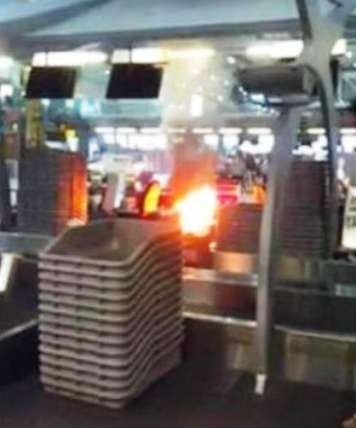 An investigation found that the suitcase contained fertilizer components. Police believe that the flame erupted as a result of chemical reaction caused by heat or friction.