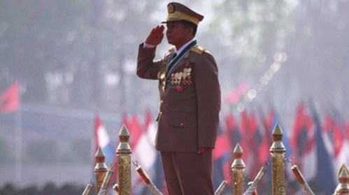 Burma's Commander-in-Chief Gen Min Aung Hlaing appears at the Armed Forces Day celebration in Naypyidaw in March 2012. (Photo: The Irrawaddy)