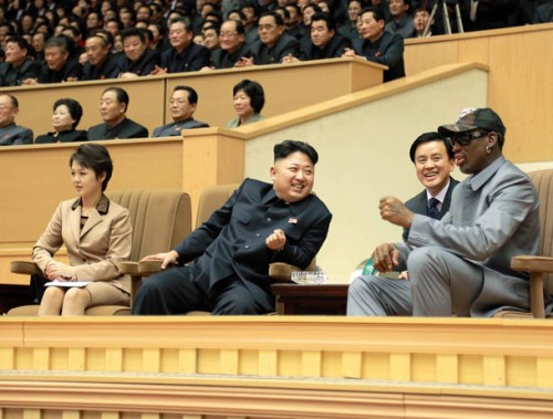 North Korean leader Kim Jong Un (2nd L) watches a basketball game between former US NBA basketball players and North Korean players of the Hwaebul team of the DPRK with Dennis Rodman (R) at Pyongyang Indoor Stadium on Jan. 9. (Photo: Reuters)