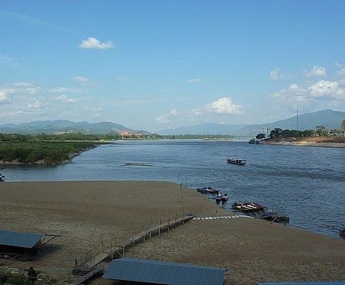 Northern Thailand Severely Affected by Drought. Dry scene of the Mekong River in Chiang Saen district, Chiang Rai province, Thailand