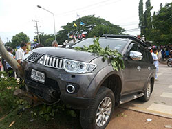 After the acident. The car driven by a former school director who had an epileptic fit and ran into a group students, killing four and injuring 10 others. (Photo of rescue team Thailand posted on FM.91 TrafficPro Facebook page)