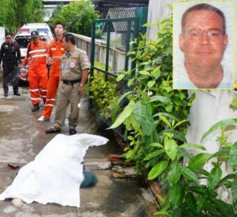 The victim was identified as James Christian, 54, by a source from the Ruamjai Rescue Foundation, which attended the scene.