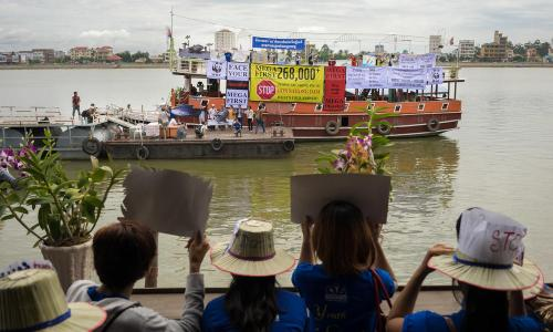 Say No to Don Sahong Dam. Mekong communities rally against controversial dam that could doom Mekong Irrawaddy dolphins