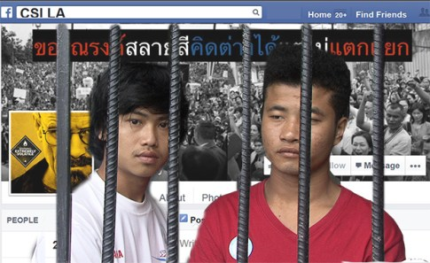 """A photo illustration of Zaw Lin and Win Zaw Htun, suspects in the murders of two British backpackers on Koh Tao, against the backdrop of the """"CSI LA"""""""