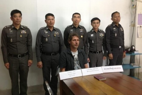 Matthew Mannen, 40, was arrested by a team of police and soldiers at Apex Hotel in the Cambodian province of Koh Kong. Please credit and share this article with others using this link:http://www.bangkokpost.com/news/crime/436574/dutchman-caught-after-wife-killed. View our policies at http://goo.gl/9HgTd and http://goo.gl/ou6Ip. © Post Publishing PCL. All rights reserved.