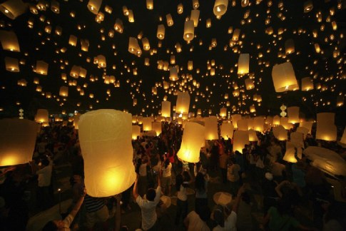 floating lanterns.
