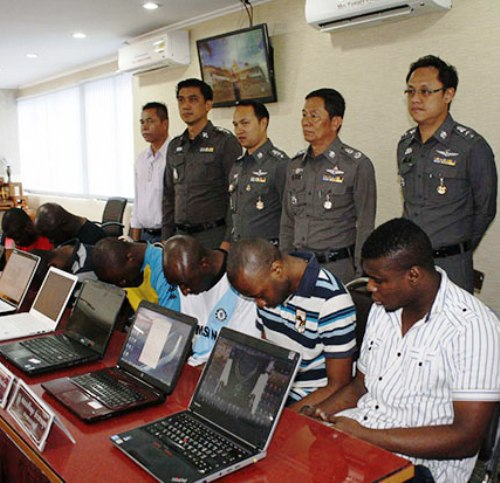 Pattaya Police Bust 14 African Internet Facebook Scammers