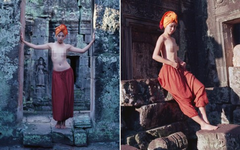 Photos of an unidentified woman posing in a temple in Siem Reap.