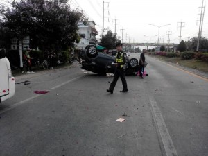 Toyota Yaris car, which was traveling at high speed, rammed into the group from the rear.