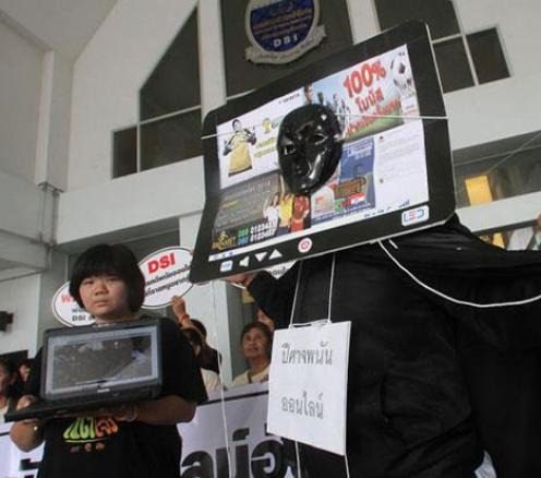 Members of a network of parents and students stage a campaign against online gambling