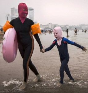 Chinese beachgoers usually pair them with full body suits