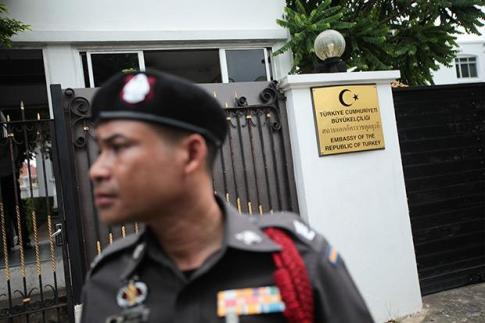 Security is beefed up at the Turkish embassy in Bangkok