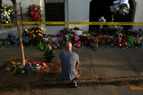 A memorial outside of the Emanuel AME Church in Charleston, S.C., days after a mass shooting there