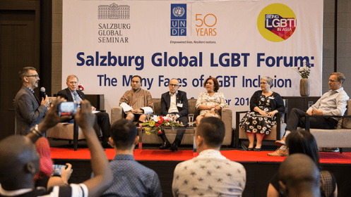 Salzburg Global LGBT Forum founder and chair Klaus Mueller introduces the Ambassadors' Conversation panel