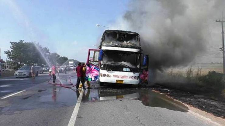 Charted Bus Carrying Wedding Passengers Destroyed by Fire