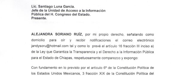 Se le ha negado a la diputada Alejandra Soriano información respecto a las finanzas públicas del ex gobernador Juan Sabines Guerrero