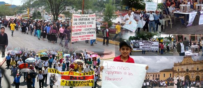 Miles de manifestantes protestaron en Chiapas contra la reformas de Peña Nieto. Collaje: Tifón Estudio/Chiapas PARALELO