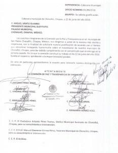 Oficio, en donde personas que participaron en contra de la alcaldesa Rosa Pérez, cobran por sus servicios prestados.