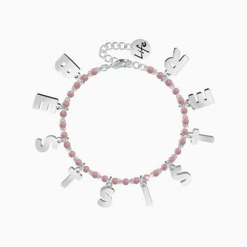 Bracciale Kidult BEST SISTER in acciaio con palline smaltate rosa