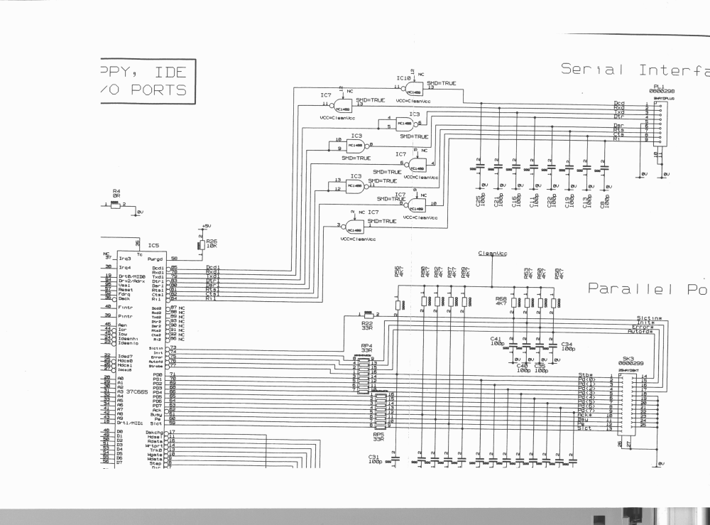 medium resolution of schematic of the risc pc s serial port and most of the parallel port from the trm schematics of an issue 1 board