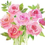 Decorative Paper Napkins Of Bunch Of Pink Roses In Watercolor Luncheon Flowers Napkins For Diy Project