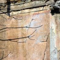 Restes de peinture sur les façades