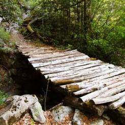 Un petit pont en bois, j'ai préféré passer par la rivière...