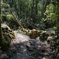Le sentier est bordé de pierres