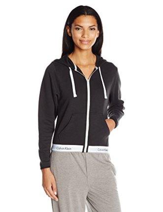Calvin Klein Women's Modern Cotton Full Zip Hoodie Top