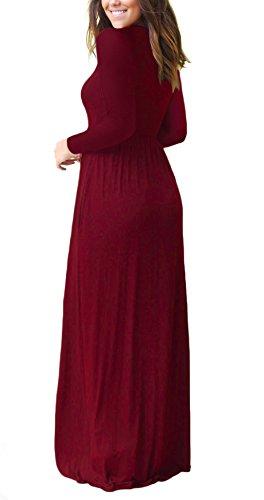 DEARCASE Women Long Sleeve Loose Plain Maxi Dresses Casual Long Dresses 3
