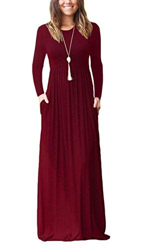 DEARCASE Women Long Sleeve Loose Plain Maxi Dresses Casual Long Dresses