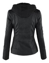 LL Womens Hooded Faux leather Jacket 3