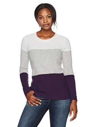 Lark & Ro Women's Ribbed Colorblock Crewneck Sweater
