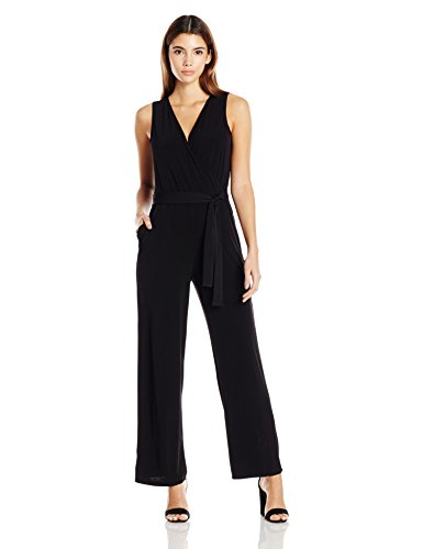NY Collection Women's Petite Sleeveless Tie Jumpsuit