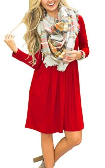 AUSELILY Women's Long Sleeve Pleated Loose Swing 2