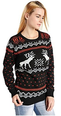Hanson Women's Patterns Of Reindeer Snowman Christmas Cardigan 3