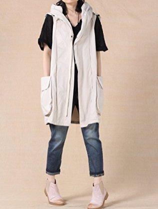 Mordenmiss Women's Sleeveless Coat Vest Hoodie Waistcoat Anoraks 6