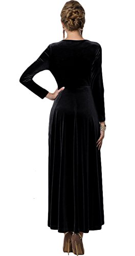 Urban CoCo Women long sleeve V-neck Velvet Stretchy Long Dress 6