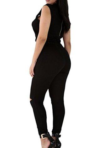Meenew Womens Sleeveless Broken Hole Tie Waist Long Pants Jumpsuit Romper 2