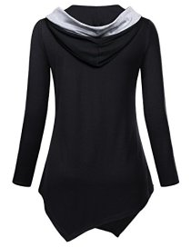 Miusey Womens Long Sleeve V Neck Asymmetric Tunic Hoodie 2