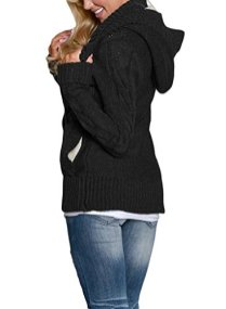 Sidefeel Women Hooded Knit Cardigans Button Cable Sweater Coat 4