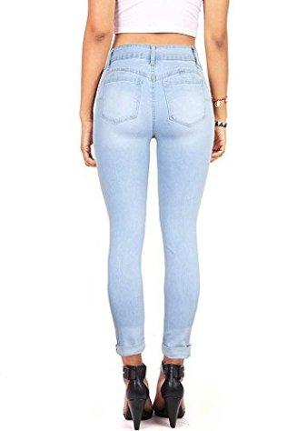 Wax Denim Women's Juniors Distressed Slim Fit Stretchy Skinny Jeans 2