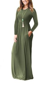AUSELILY Women Long Sleeve Loose Plain Maxi Dresses 2