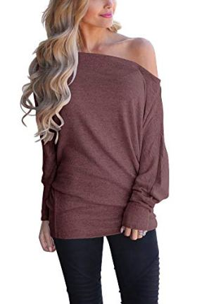 INFITTY Off Shoulder Loose Pullover Sweater
