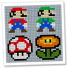 8 Bit Super Mario Brothers Wooden Block Pixel Art Pattern Chica And Jo