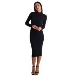 Midi πλεκτό φόρεμα ζιβάγκο (Μαύρο)