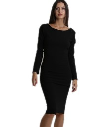 Φόρεμα midi μακρυμάνικο με αλυσίδες στην πλάτη μαύρο