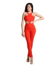 Ολόσωμη φόρμα με ανοίγματα κόκκινη