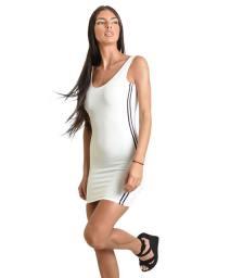 Μίνι εφαρμοστό φόρεμα με ανοιχτή πλάτη και ρίγες στο πλάι (Λευκό)